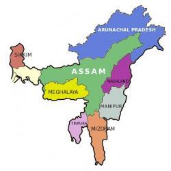 Carte états nord est de l'inde